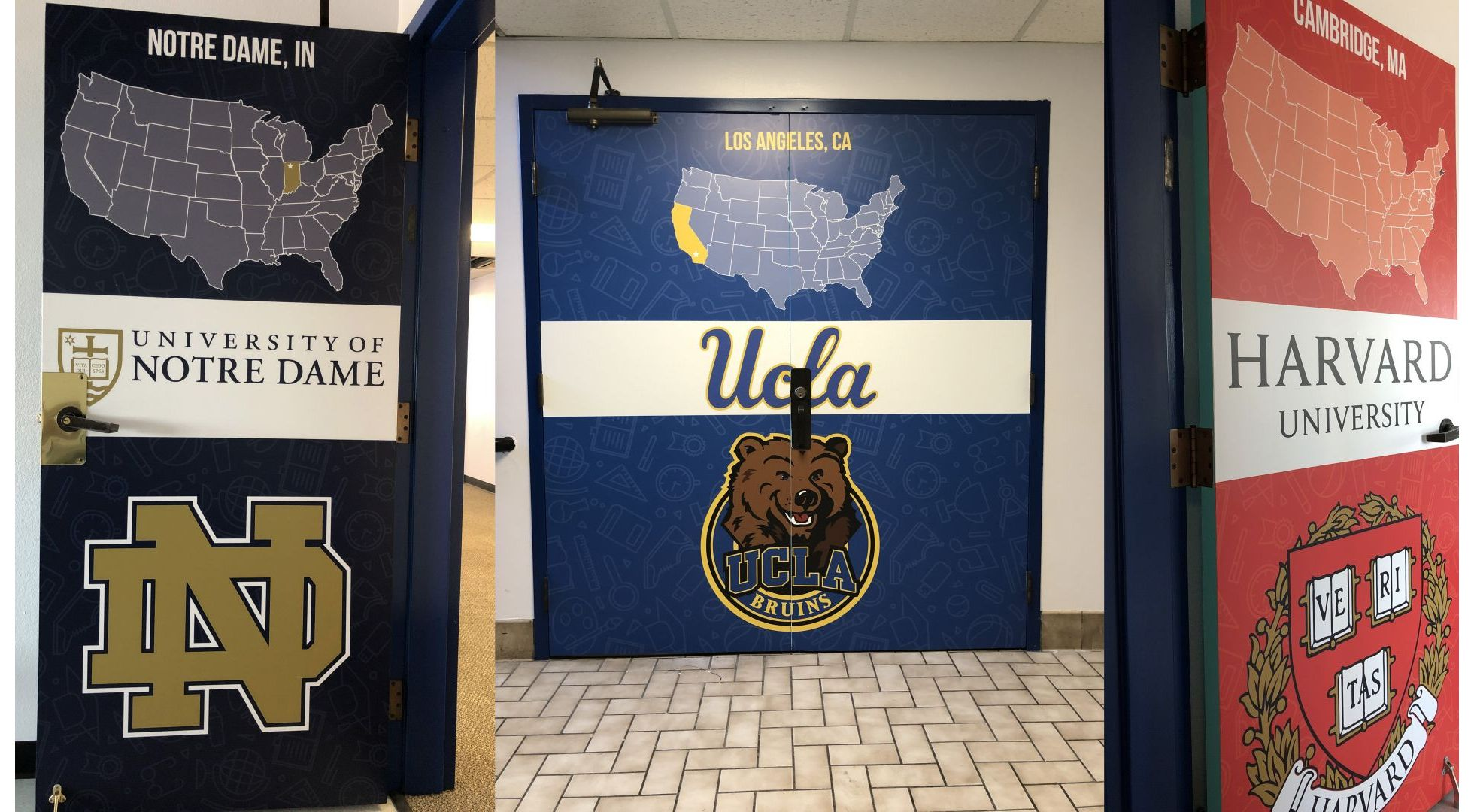 "Scholarship Prep Classroom Doors Received A ""Collegiate"" Makeover"